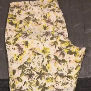 Lane Bryant yellow floral crop jeans Size 18